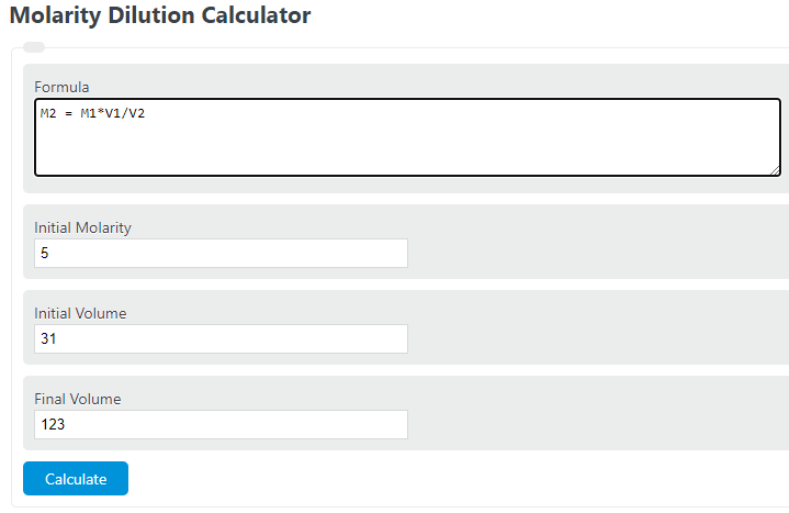 molarity dilution formula