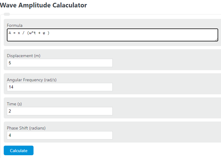 wave amplitude calculator