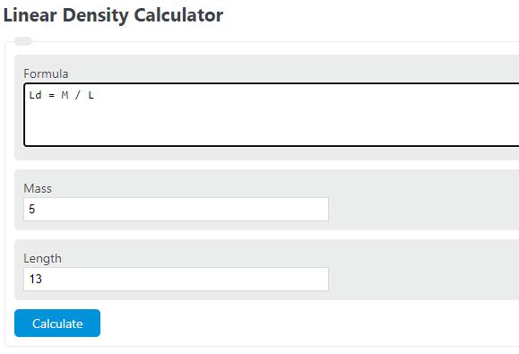 linear density calculator