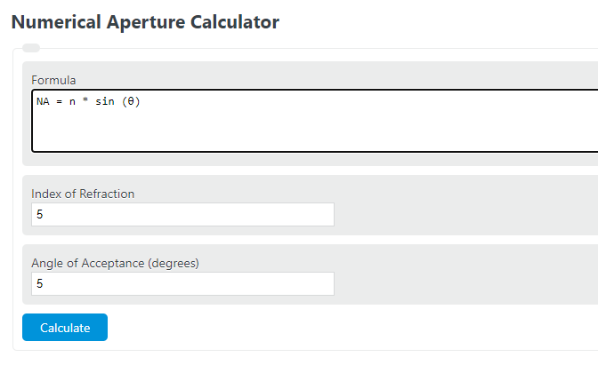 numerical aperture calculator