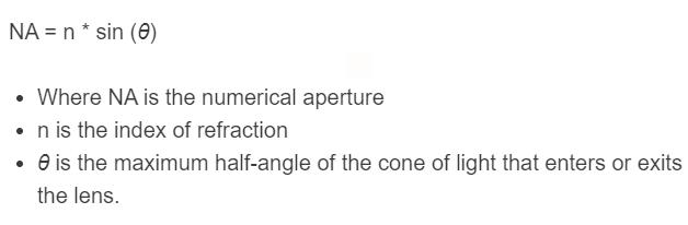 numerical aperture formula