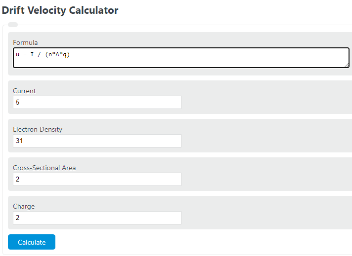 drift velocity calculator