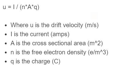drift velocity formula