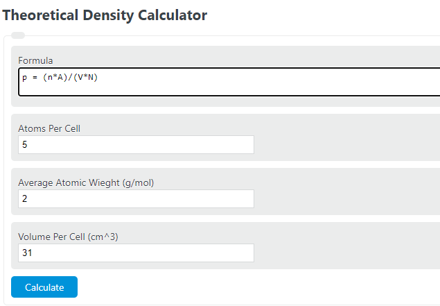 theoretical density calculator