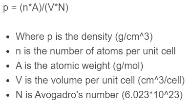 theoretical density formula