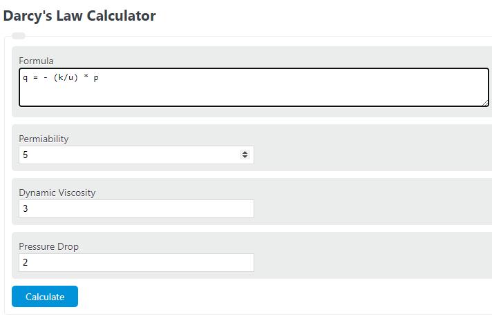 darcy's law calculator