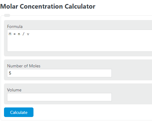 molar concentration calculator