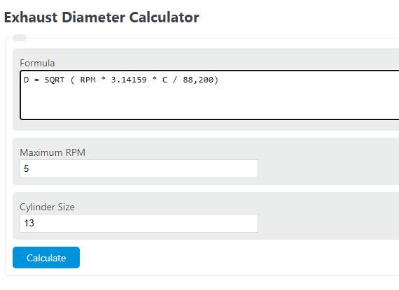 exhaust diameter calculator