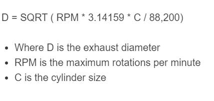 exhaust diameter formula