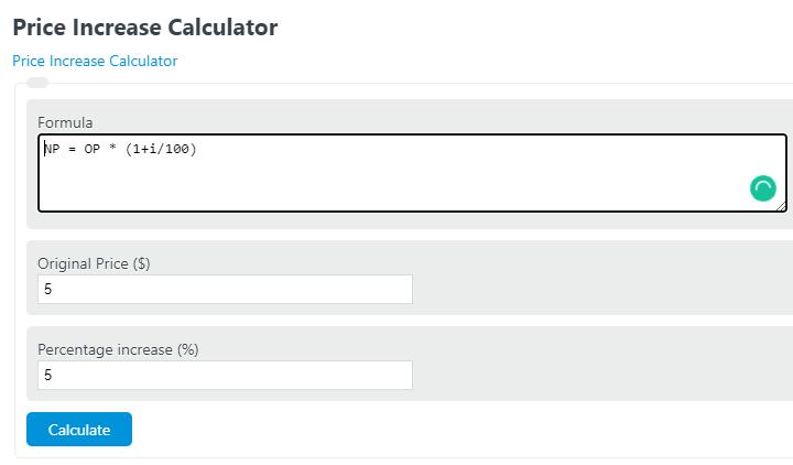 price increase calculator