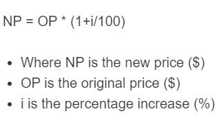 price increase formula