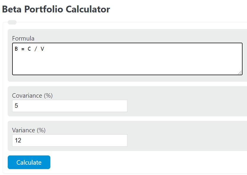 beta portfolio calculator