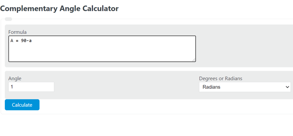 complementary angle calculator