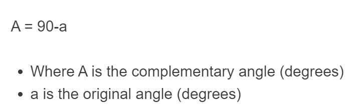 complementary angle formula