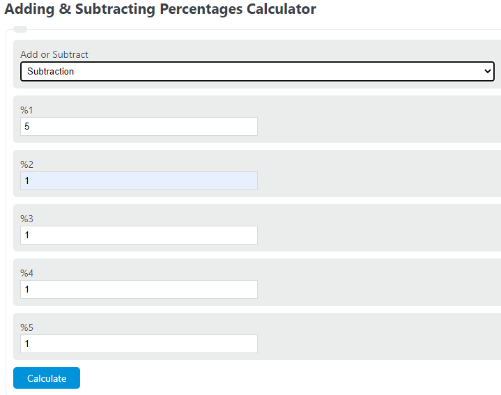 adding percentages calculator