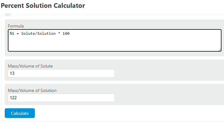 percent solution calculator