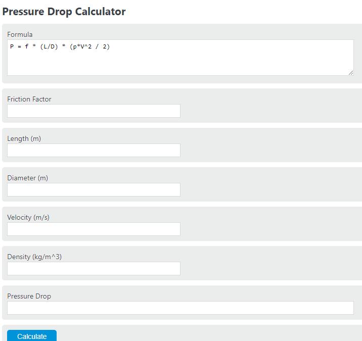 pressure drop calculator