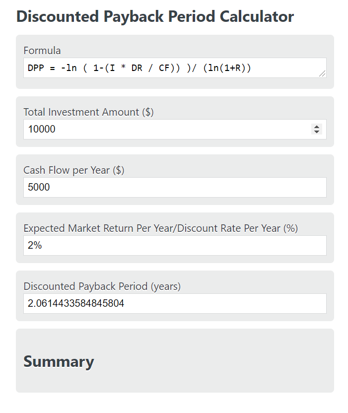 discounted payback period calculator