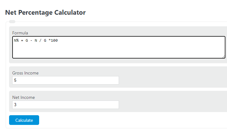 net percentage calculator