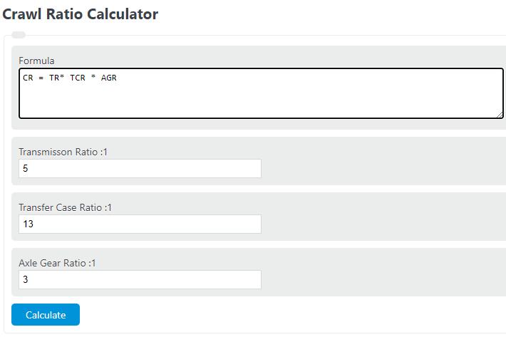 crawl ratio calculator