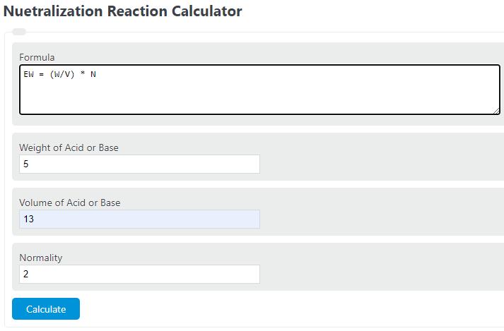 neutralization reaction calculator