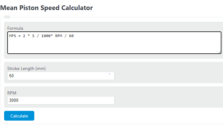 piston speed calculator