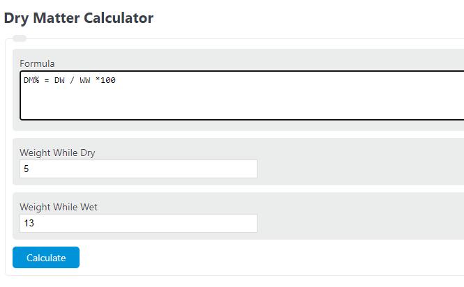 dry matter calculator