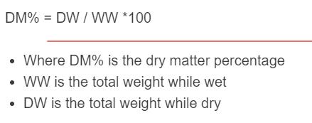 dry matter formula