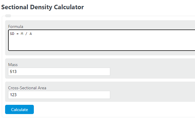 sectional density calculator