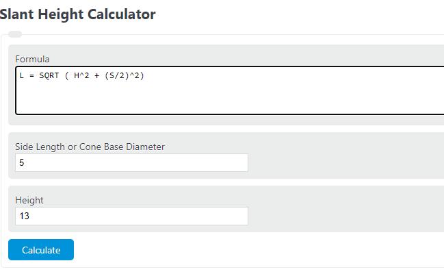slant height calculator