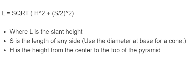 slant height formula
