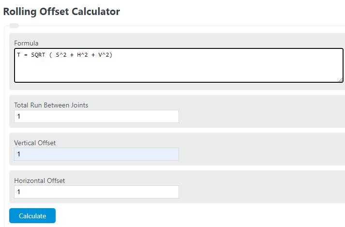 rolling offset calculator