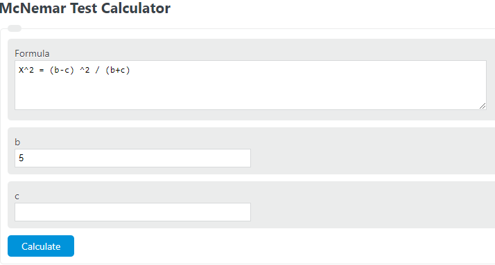 mcnemar test calculator