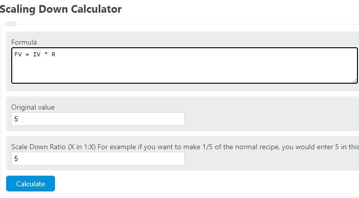 scaling down calculator
