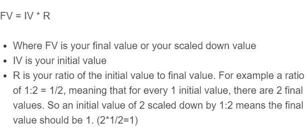 scaling down formula