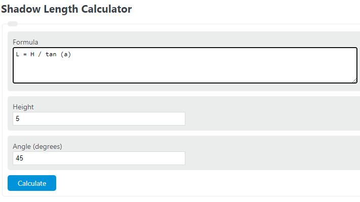shadow length calculator