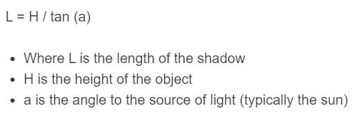 shadow length formula
