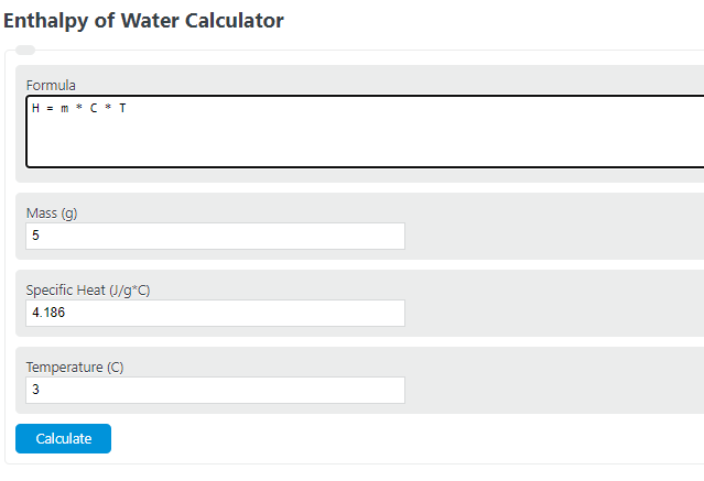enthalpy of water calculator