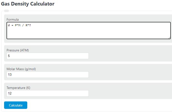 gas density calculator