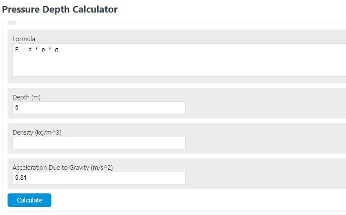 pressure depth calculator