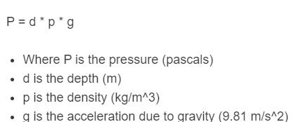 pressure depth formula