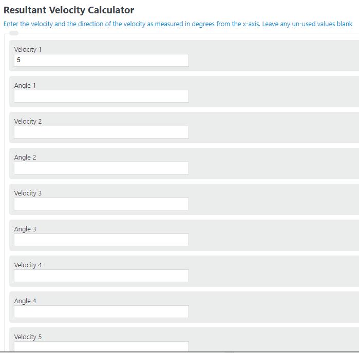 resultant velocity calculator