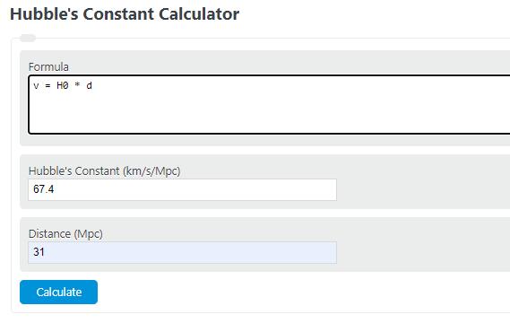 hubble's constant calculator