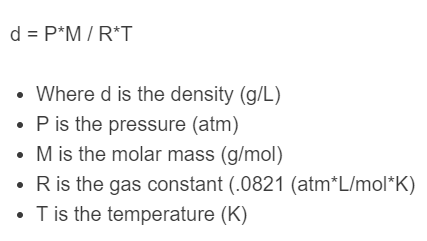 gas density formula