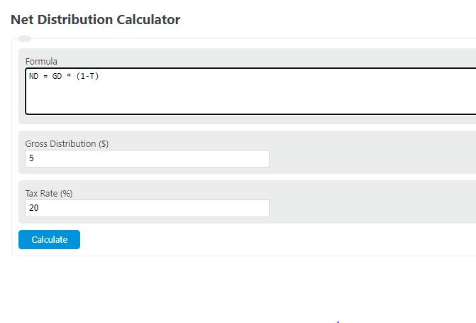 net distribution calculator