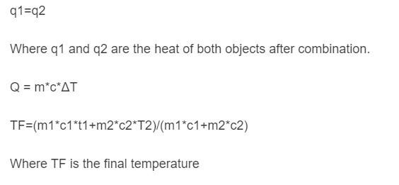 final temperature formula