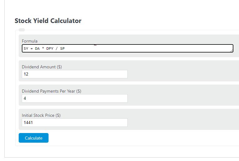 stock yield calculator