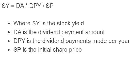 stock yield formula