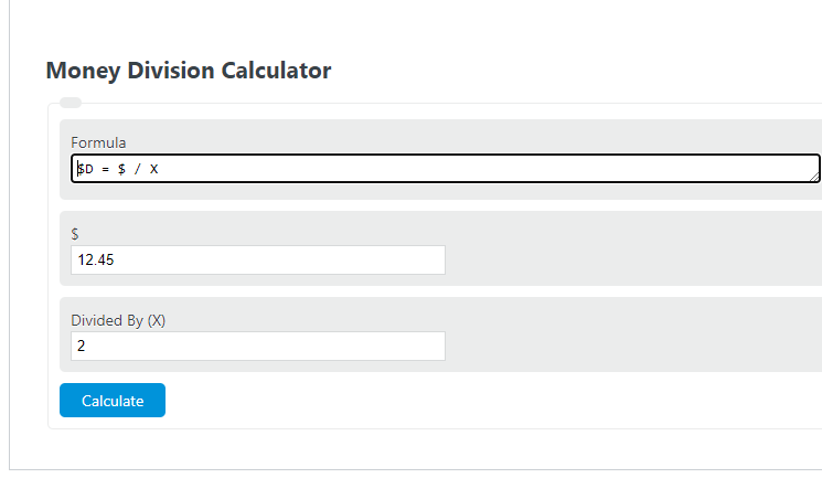 money division calculator