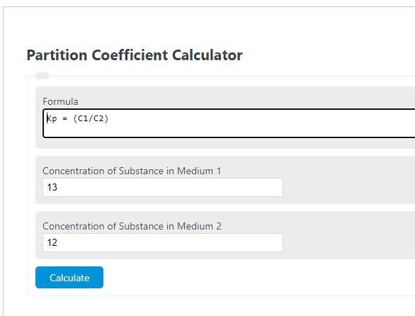 partition coefficient calculator
